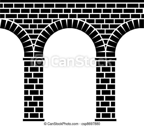 bro, sten, forntida, akvedukt, viadukt, seamless, vektor - csp8697880