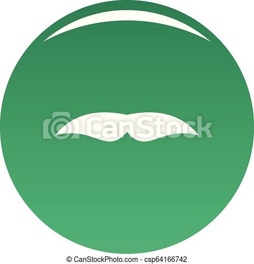 Broad mustache icon vector green - csp64166742