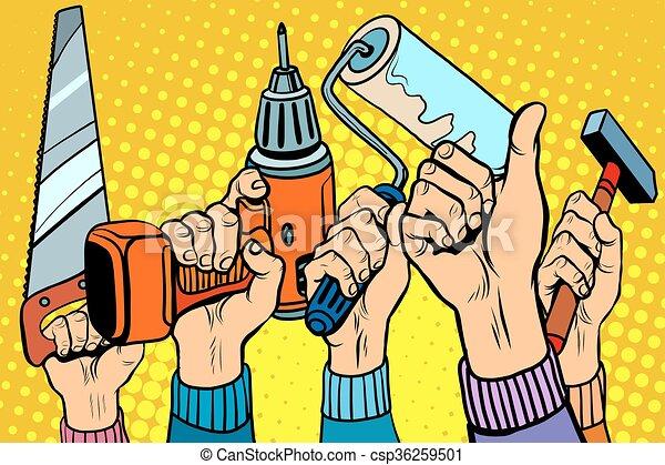 broca martelo pintura ferramentas serra rolo reparos arte