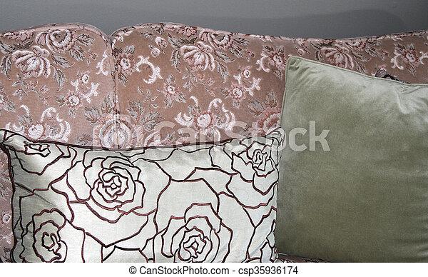 Brocade Sofa With Pillows   Csp35936174
