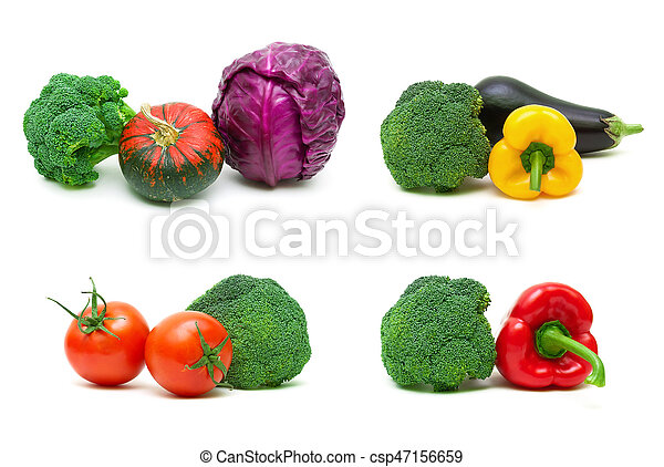Broccoli and other vegetables isolated on white background - csp47156659