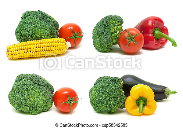 broccoli and other vegetables on a white background. - csp58542585