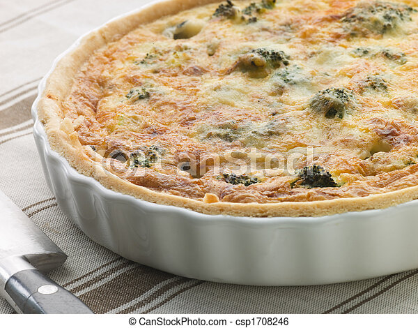 Broccoli and Roquefort Quiche in a Flan Dish - csp1708246
