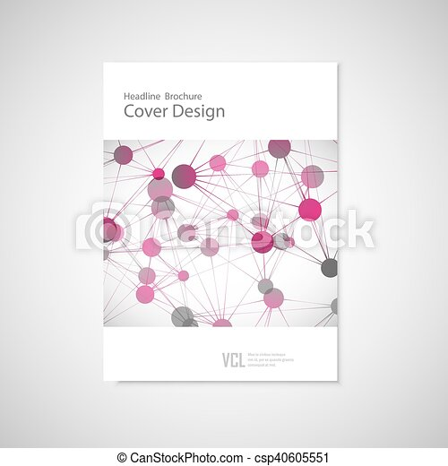 Brochure cover template for connect, network, healthcare, science and technology - csp40605551