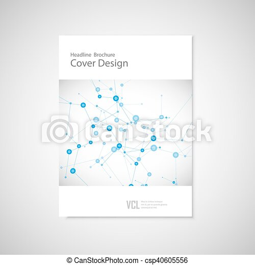 Brochure cover template for connect, network, healthcare, science and technology - csp40605556