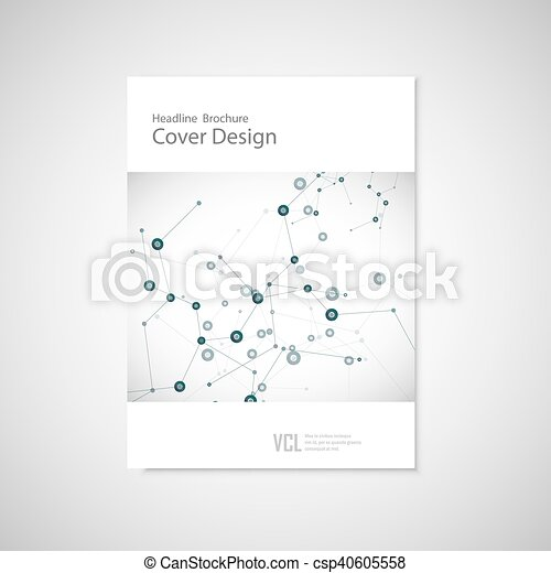 Brochure cover template for connect, network, healthcare, science and technology - csp40605558