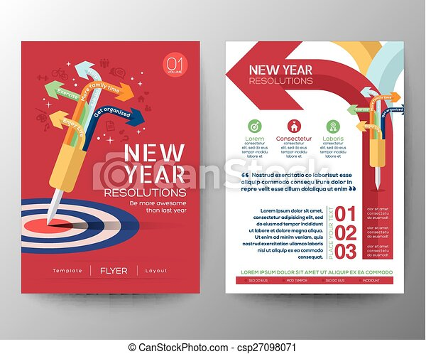 brochure flyer design layout vector template iwith new year