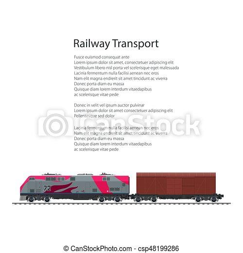 Brochure locomotive with closed wagon , cargo train ...