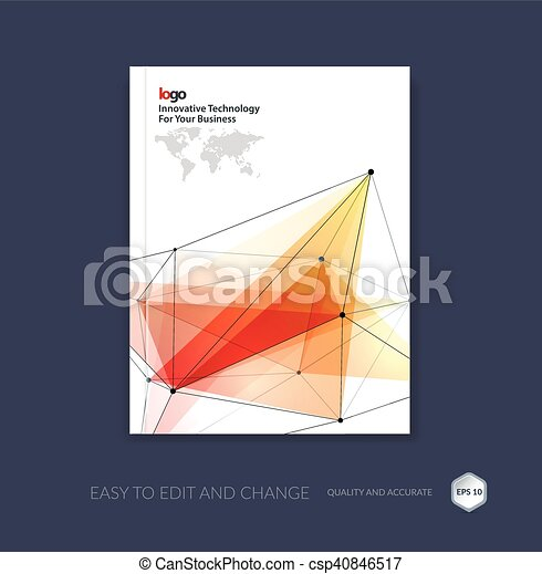 Brochure template, cover design annual report, flyer layout, leaflet in A4 with abstract triangles and polygons grid for business, technology and science with future network idea. Vector. - csp40846517