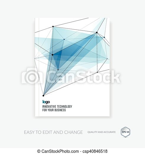 Brochure template, cover design annual report, flyer layout, leaflet in A4 with abstract triangles and polygons grid for business, technology and science with future network idea. Vector. - csp40846518