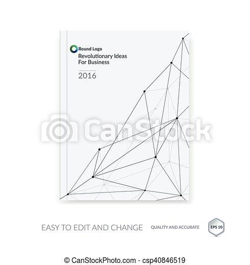 Brochure template, cover design annual report, flyer layout, leaflet in A4 with abstract triangles and polygons grid for business, technology and science with future network idea. Vector. - csp40846519