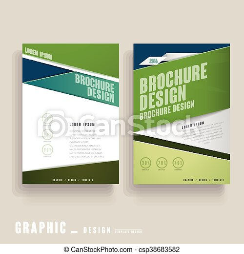 Contemporary Brochure Template Design In Green And White Vector