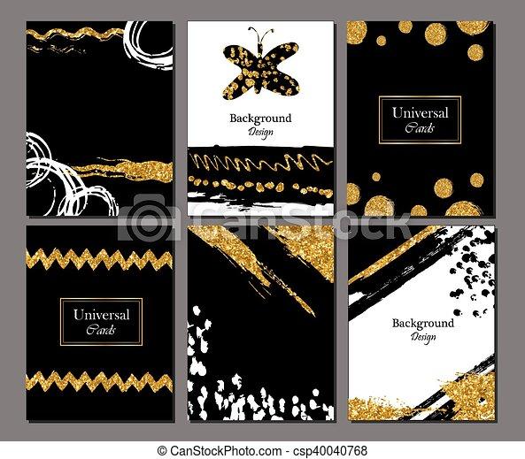 Brochure Template Design Set With Brush Stroke Vector Clip Art