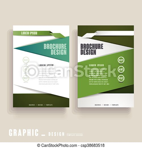 Contemporary Brochure Template Design In Green And White Vector Clip