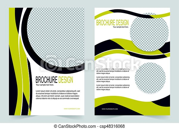 brochure template flyer design black and yellow template csp48316068