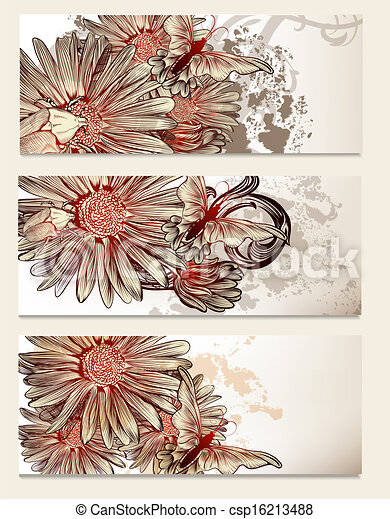 Brochure vector set with floral elements for design - csp16213488