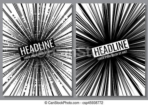 Line Art Effect Photo : Brochure vector templates with comic speed line effect . vectors