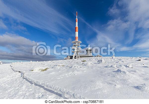brocken mountain germany in the winter - csp70887181