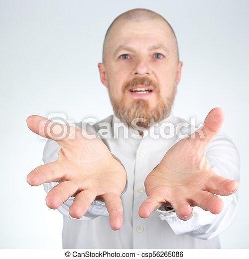 brodaty, jego, napina, herb, naprzód, człowiek - csp56265086