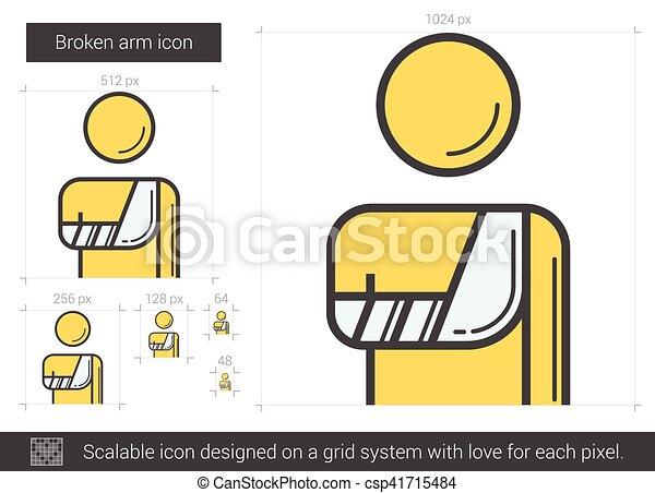 Broken arm line icon. - csp41715484