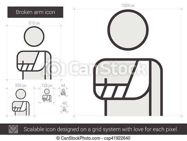 Broken arm line icon. - csp41922640