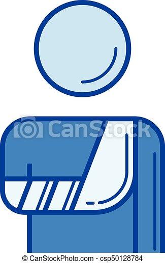 Broken arm line icon. - csp50128784