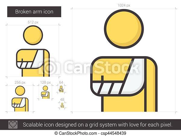 Broken arm line icon. - csp44548439