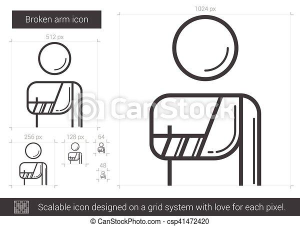 Broken arm line icon. - csp41472420