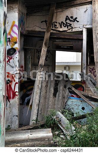 broken asbestos roofing - csp6244431