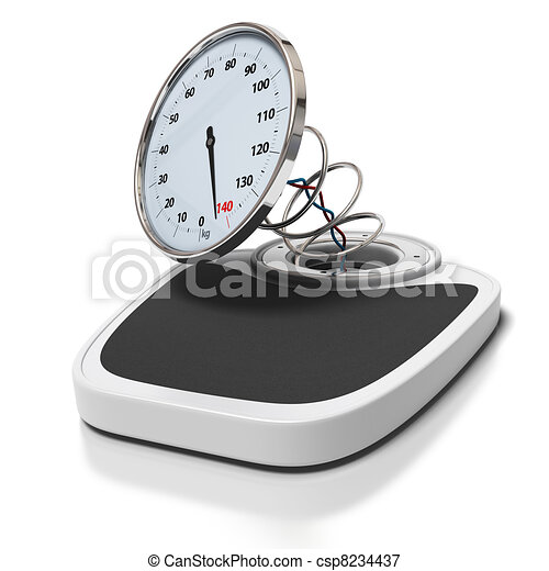 broken bathroom scales over a white background - overweight concept - square images - csp8234437