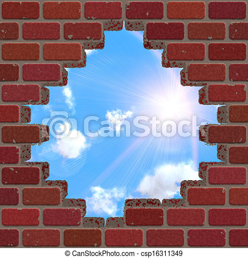 Broken brick wall and sky - csp16311349
