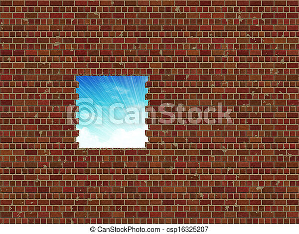 Broken brick wall and sky - csp16325207