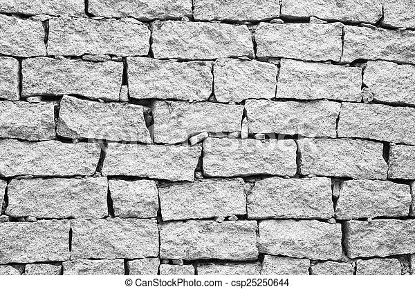 Broken Brick Wall Texture Background In Black And White Stock Photo