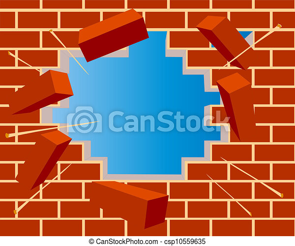 broken brick wall with hole and sky - csp10559635