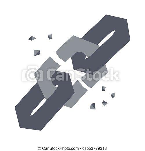 Broken Chain Link Vector Icon Illustration