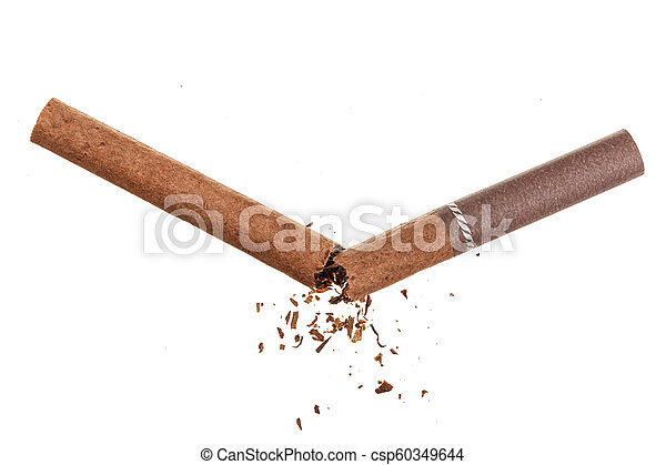 Broken cigarette isolated on white background. Top view - csp60349644