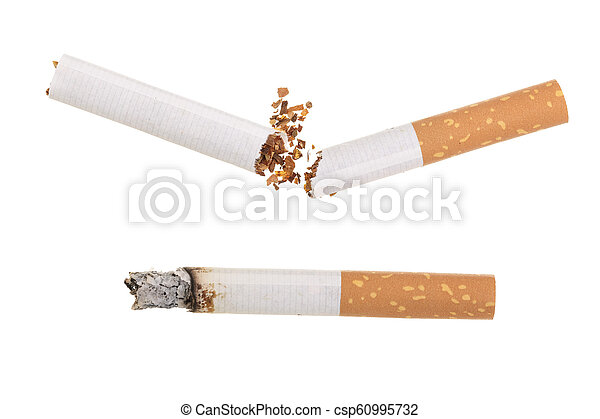 Broken cigarette isolated on white background. Top view - csp60995732