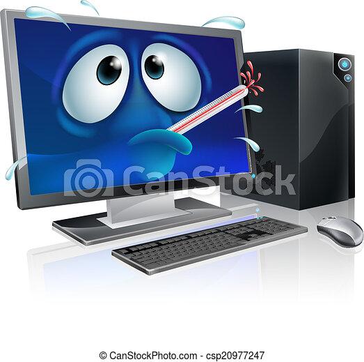 Broken computer virus cartoon - csp20977247
