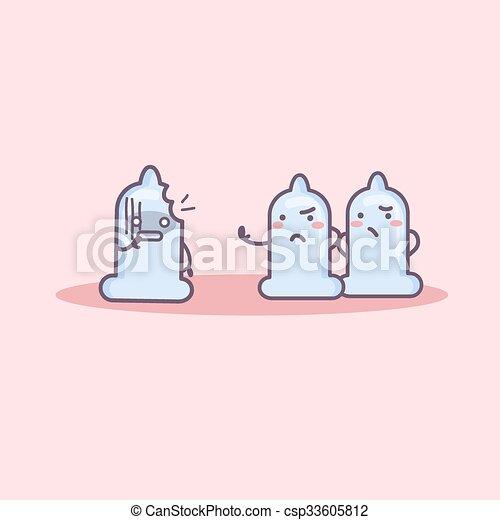 broken condom cartoon - csp33605812