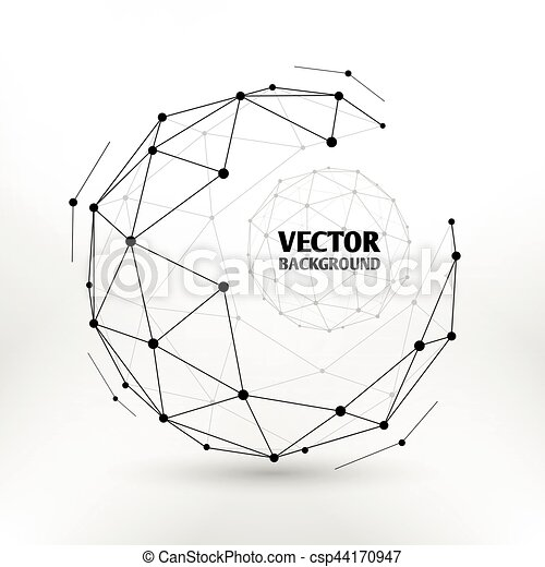 Broken connection network 3d polygon wireframe sphere technology vector illustration - csp44170947