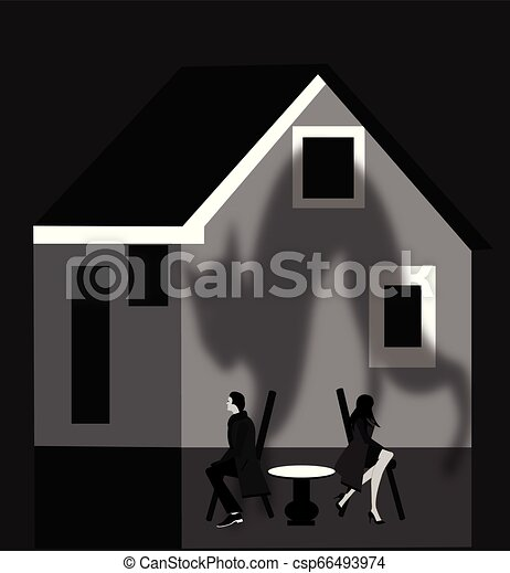 broken couple in front of their house - csp66493974