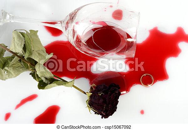 Broken glass after argument - csp15067092