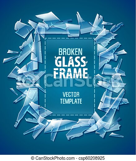 Broken glass frame decorative element for design - csp60208925
