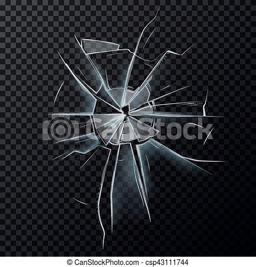 Broken glassware window or damaged screen - csp43111744
