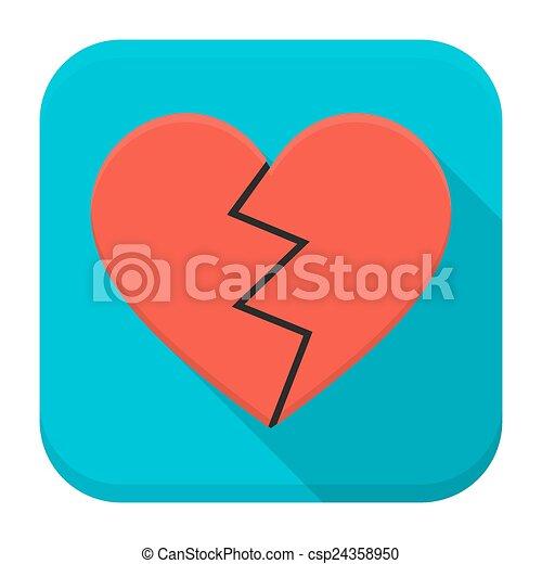 Broken Heart App Icon With Long Shadow Vector Illustration Of