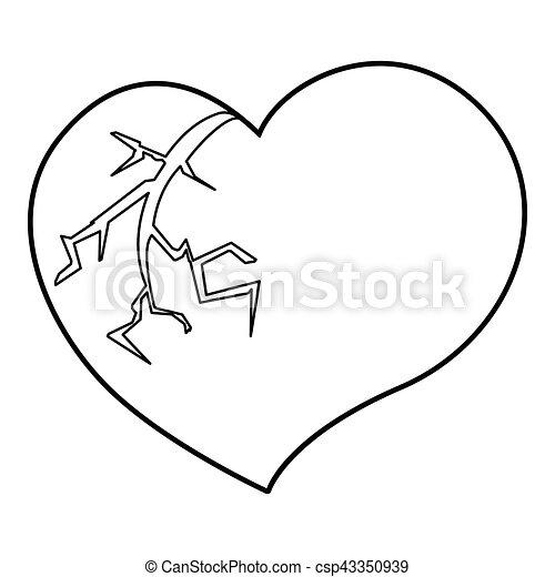 Broken Heart Icon Outline Style Broken Heart Icon Outline