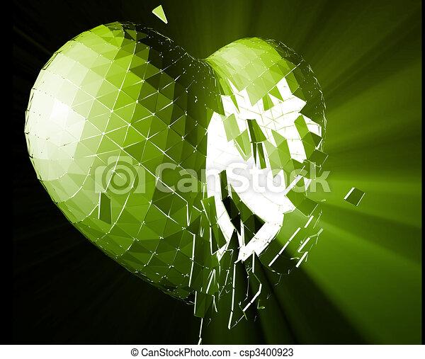 Broken Heart Illustration Broken Shattered Heart Lost Love Glowing