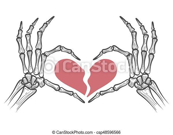 Broken heart in skeleton hands isolated on white background. vector ...