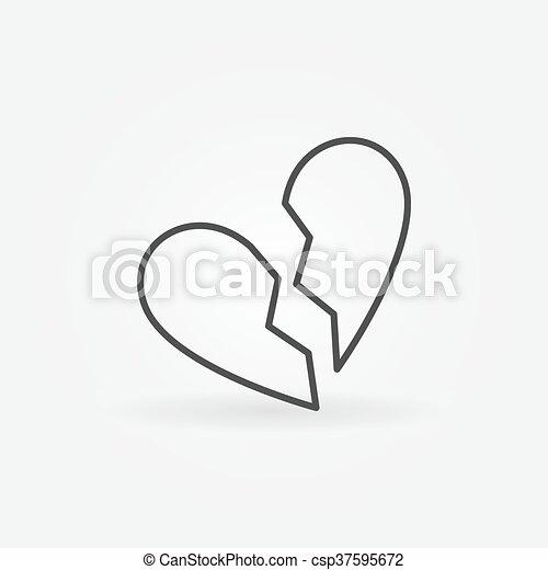 Broken Heart Linear Icon Vector Simple Divorce Symbol Minimal End