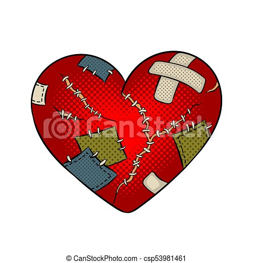 Broken Heart Metaphor Pop Art Vector Broken Heart Metaphor Pop Art